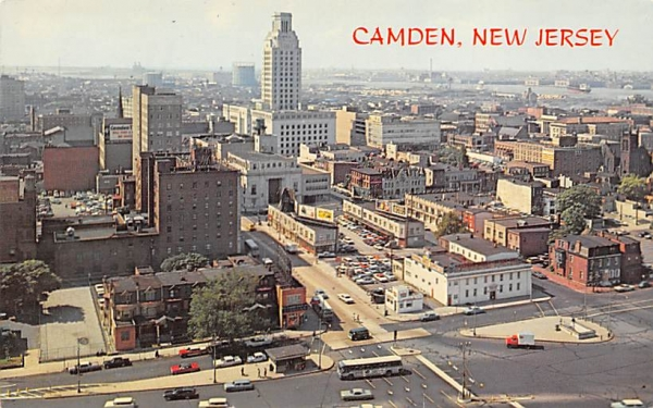 View of busy downtown area Camden, New Jersey Postcard