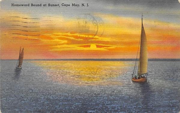 Homeward Bound at Sunset Cape May, New Jersey Postcard