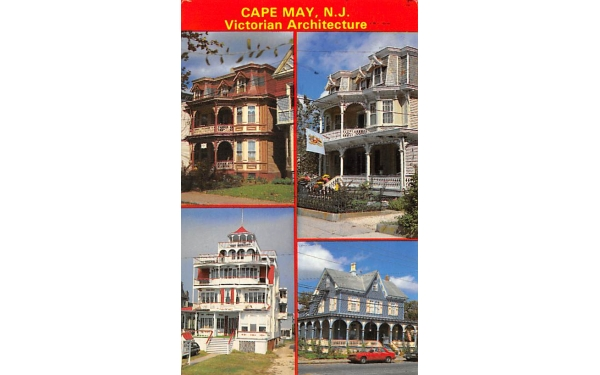 Victorican Architecture Cape May, New Jersey Postcard
