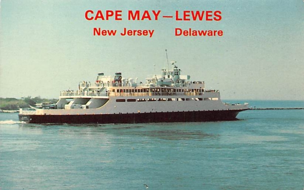 Lewes, Del, Ferry Cape May, New Jersey Postcard