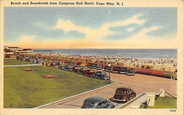 Beach and Boardwalk from Congress Hall Hotel Cape May, New Jersey Postcard