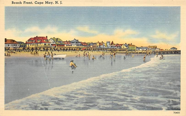 Beach Front Cape May, New Jersey Postcard