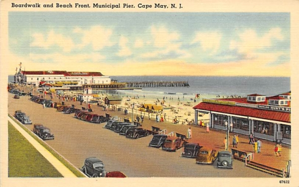 Boardwalk and Beach Front, Municipal River Cape May, New Jersey Postcard
