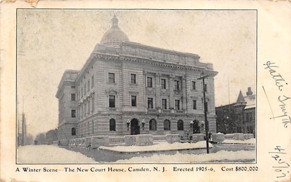 A Winter Scene-The New Court House Camden, New Jersey Postcard