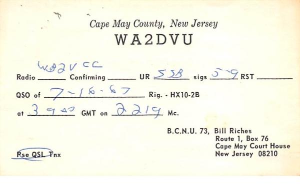 WA2DVU Cape May, New Jersey Postcard