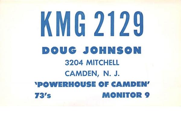 KMG 2129 Camden, New Jersey Postcard