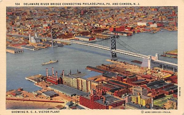 Delaware River Bridge Connecting  Camden, New Jersey Postcard