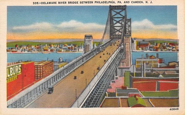 Delaware River Bridge between Camden, New Jersey Postcard