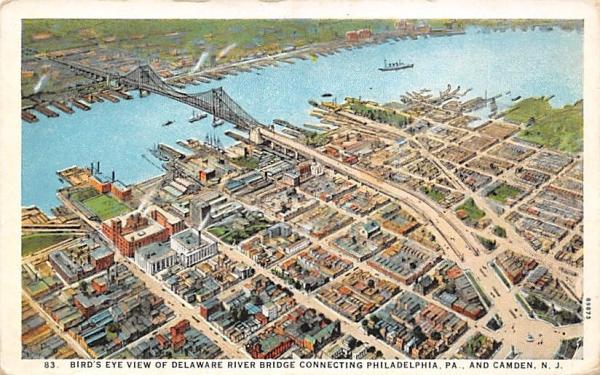 Bird's Eye View of Delaware River Bridge Camden, New Jersey Postcard