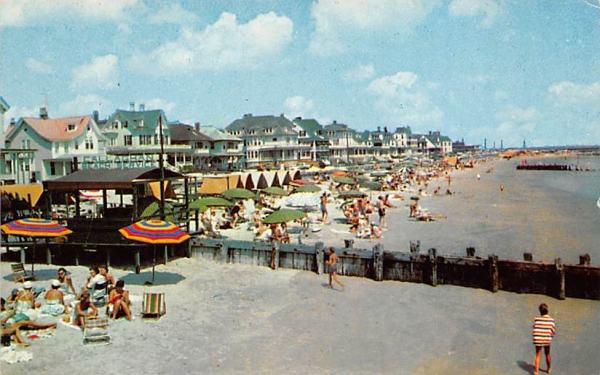 Beach and Boardwalk and Ocean Front Cottages Cape May, New Jersey Postcard
