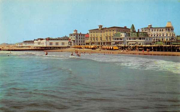 Beach and Hotels Cape May, New Jersey Postcard