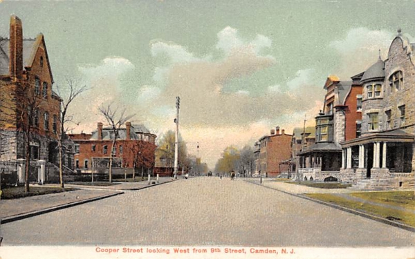 Cooper Street looking West from 9th Street Camden, New Jersey Postcard