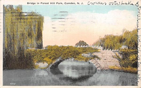 Bridge in Forest Hill Park Camden, New Jersey Postcard