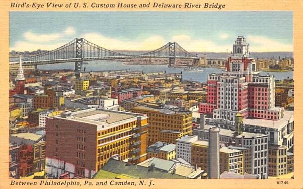 Bird'-Eye View of U. S. Custom House Camden, New Jersey Postcard