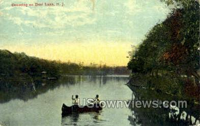 Canoeing On Deal Lake  - New Jersey NJ Postcard