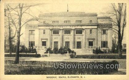 Masonic Temple - Elizabeth, New Jersey NJ Postcard