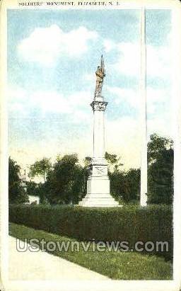 Soldiers Monument  - Elizabeth, New Jersey NJ Postcard