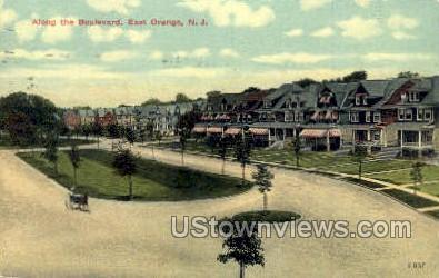 Along Boulevard - East Orange, New Jersey NJ Postcard