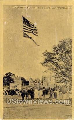 Unfolding Old Glory, Playgrounds - East Orange, New Jersey NJ Postcard