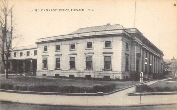 United States Post Office Elizabeth, New Jersey Postcard