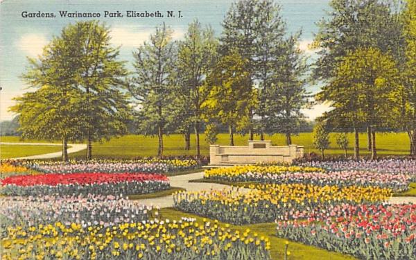 Gardens, Warinanco Park Elizabeth, New Jersey Postcard