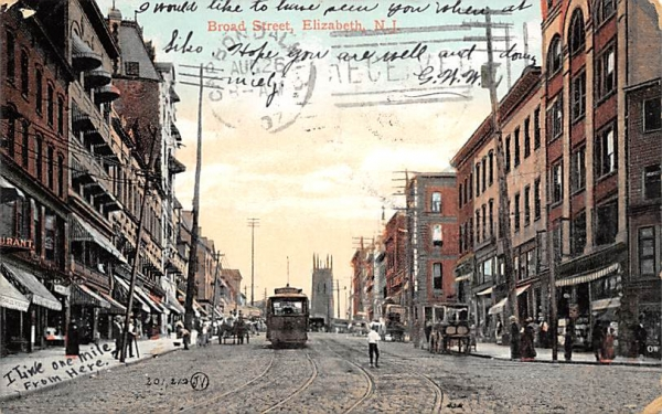 Broad Street Elizabeth, New Jersey Postcard