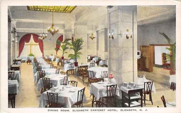 Dining Room, Elizabeth Carteret Hotel New Jersey Postcard