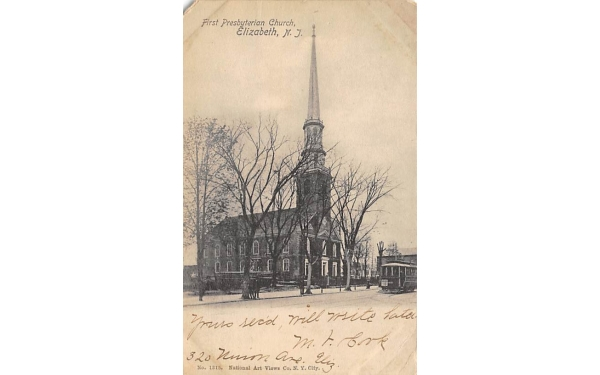 First Presbyterian Church Elizabeth, New Jersey Postcard