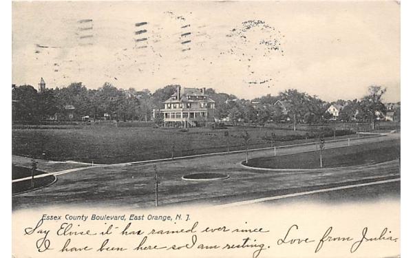 Essex County Boulevard East Orange, New Jersey Postcard