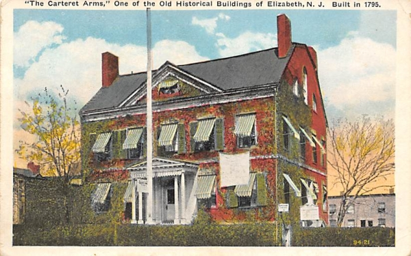 The Carteret Arms,  Elizabeth, New Jersey Postcard