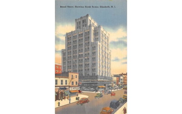 Broad Street, Showing Hersh Tower Elizabeth, New Jersey Postcard