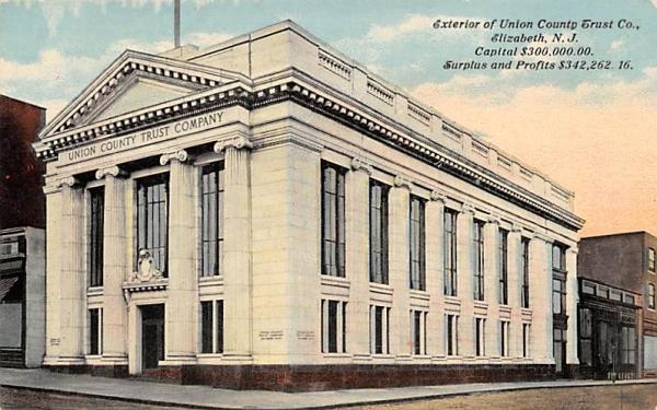 Exterior of Union County Trust Co.  Elizabeth, New Jersey Postcard
