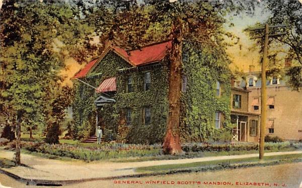 General Winfield Scott's Mansion Elizabeth, New Jersey Postcard