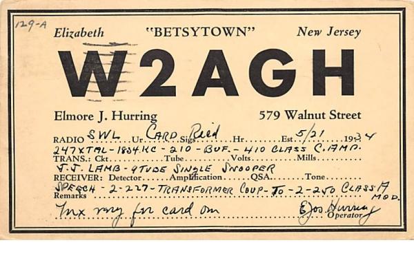 W2AGH Elizabeth, New Jersey Postcard