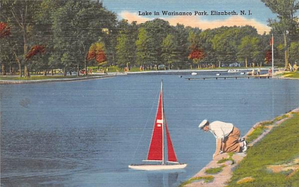Lake in Warinanco Park Elizabeth, New Jersey Postcard