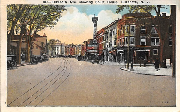 Elizabeth Ave. showing Court House New Jersey Postcard