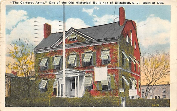 The Carterest Arms Elizabeth, New Jersey Postcard