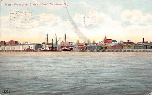 Water Front from Staten Island Elizabeth, New Jersey Postcard