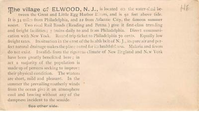 Elwood envelope, 6 inch x 3 1/4 inch New Jersey Postcard