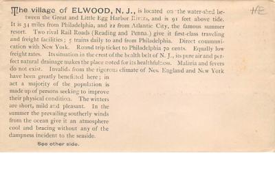 Elwood envelope, 6 inch x 3 1/4 inch New Jersey Postcard