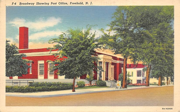 Boardway Showing Post Office Freehold, New Jersey Postcard