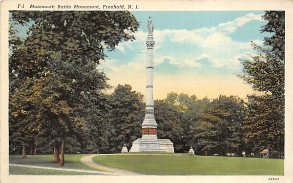 Monmouth Battle Mounument Freehold, New Jersey Postcard