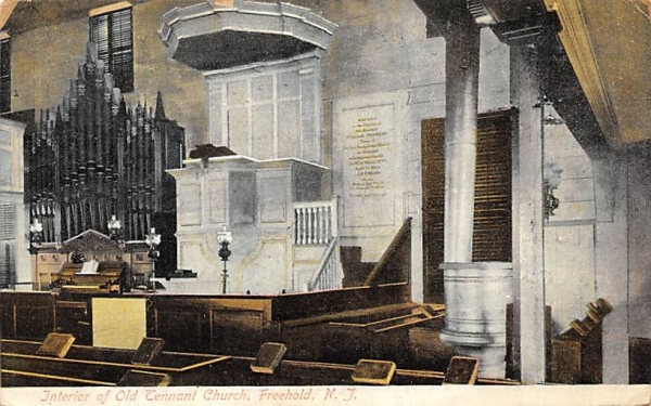 Interior of Old Tennant Church Freehold, New Jersey Postcard