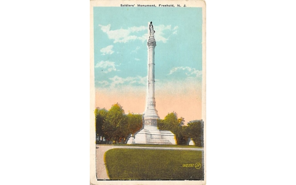 Soldiers' Monument Freehold, New Jersey Postcard