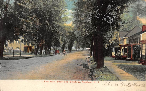 East Main Street and Broadway Freehold, New Jersey Postcard