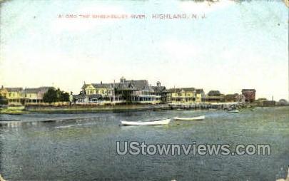 Along The Shrew Berry River  - Highlands, New Jersey NJ Postcard