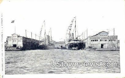 Hamburg American Line Piers  - Hoboken, New Jersey NJ Postcard