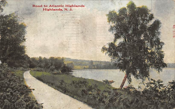 Road to Atlantic Highlands New Jersey Postcard