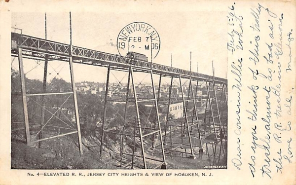 Jersey City Heights & View of Hoboken New Jersey Postcard
