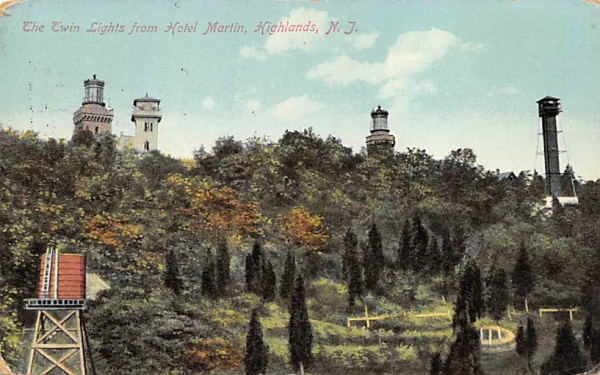 The Twin Lights from Hotel Martin Highlands, New Jersey Postcard